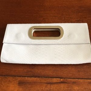 NWT Express White Leather Snake Skin Clutch